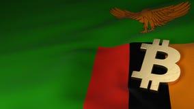 Bitcoin valutasymbol på flagga av Zambia Arkivfoto