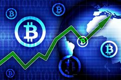 Bitcoin valutatillväxt - illustration för begreppsnyheternabakgrund Fotografering för Bildbyråer