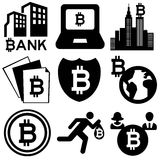 Bitcoin. Variety of icons about the internet currency bitcoin Stock Photo
