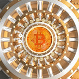 Bitcoin vault door. Concept of bitcoin crypto currency safe 3d rendering image vector illustration