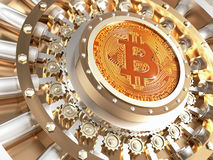 Bitcoin vault door Stock Image