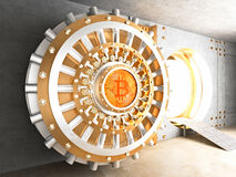 Bitcoin vault door. Concept of bitcoin crypto currency safe 3d rendering image stock illustration