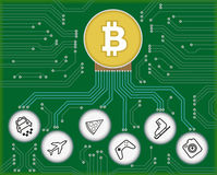 Bitcoin. Vector conceptual illustration of electrical circuit and object symbols connected to bitcoin Stock Photos