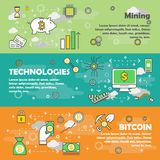 Bitcoin concept vector modern thin line flat design banner set. Bitcoin vector horizontal banner set. Mining, Technologies and Bitcoin concept modern thin line Royalty Free Stock Images
