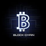 Bitcoin vector illustration background and block chain technology Stock Images