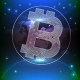 Bitcoin vector illustration background with connected internet. As an example for crypto currencies and block chain technology Royalty Free Stock Photos