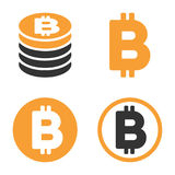 Bitcoin-Vektor-Ikonen-Satz Lizenzfreies Stockfoto