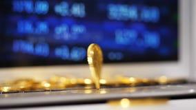 Bitcoin verdraait en wordt Financiële Markt Niet-gesorteerd Deel stock video