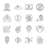 Bitcoin verschillende die pictogrammen voor Internet-geldcrypto valutasymbool en muntstukbeeld worden geplaatst voor het gebruike stock illustratie