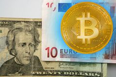 Bitcoin versus dollar and Euor currency. Concept Royalty Free Stock Image