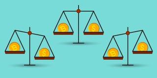 Bitcoin versus dollar op een saldo royalty-vrije stock afbeelding