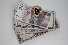 Bitcoin versus real money concept Stock Images
