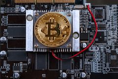 Bitcoin and video card Stock Photos