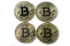 Bitcoin vier op een witte achtergrond Stock Afbeeldingen