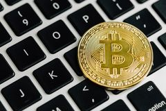 Bitcoin. Virtual cryptocurrency. Currency of the future royalty free stock photography