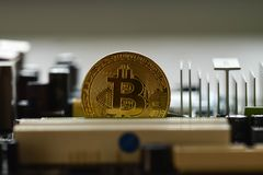 Bitcoin, virtual currency, decentralized digital currencyÑŽ royalty free stock image