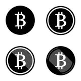 Bitcoin virtual currency set of symbols icons logo simple black colored with white vector illustration