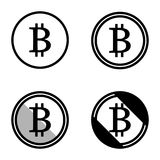 Bitcoin virtual currency set of symbols icons logo simple black and white colored. A set of bitcoin virtual currency symbols logos, black and white, minimalist Royalty Free Stock Photography