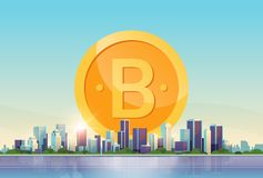 Bitcoin virtual money golden coin icon crypto currency mining concept over big modern city building skyscraper cityscape. Skyline flat horizontal vector royalty free illustration