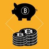 Bitcoin virtual money. Graphic icons design, vector illustration eps10 Stock Photos