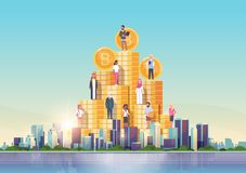 Bitcoin virtual money people standing at golden coins stack crypto currency mining concept over big modern city building. Skyscraper cityscape skyline flat vector illustration
