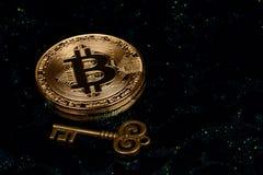 Bitcoin virtuale dei soldi Fotografia Stock Libera da Diritti