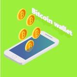 Bitcoin vola dal telefono Immagine Stock Libera da Diritti