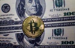Bitcoin vs dolar Obraz Stock