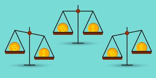 Bitcoin vs dollar på en jämvikt Royaltyfri Bild