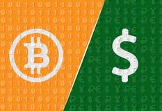Bitcoin VS dollartapeten Fotografering för Bildbyråer