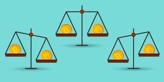 Bitcoin vs euro på en jämvikt Royaltyfria Bilder