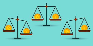 Bitcoin vs jen na równowadze Zdjęcie Royalty Free