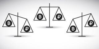 Bitcoin vs rubel på en jämvikt Royaltyfri Foto