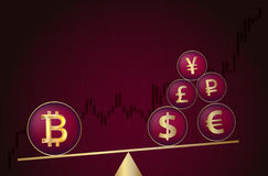 Bitcoin vs. traditional currency. Royalty Free Stock Photos