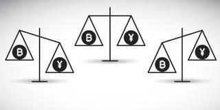 Bitcoin vs yen på en jämvikt Royaltyfria Foton