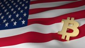 Bitcoin-Währungszeichen auf Flagge der Vereinigten Staaten von Amerika Stockbilder
