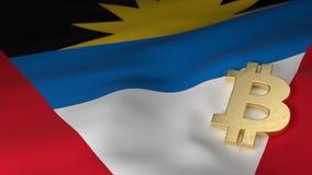 Bitcoin-Währungszeichen auf Flagge des Antigua und Barbuda Stockfotos
