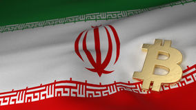 Bitcoin-Währungszeichen auf Flagge vom Iran Lizenzfreies Stockbild