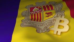 Bitcoin-Währungszeichen auf Flagge von Andorra Stockbilder