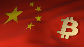 Bitcoin-Währungszeichen auf Flagge von China Lizenzfreie Stockfotos