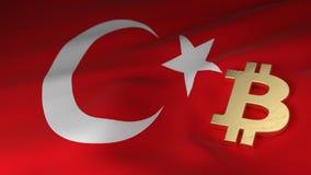 Bitcoin-Währungszeichen auf Flagge von der Türkei Stockbild