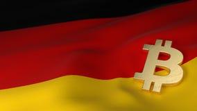Bitcoin-Währungszeichen auf Flagge von Deutschland Lizenzfreie Stockfotos