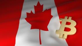 Bitcoin-Währungszeichen auf Flagge von Kanada Lizenzfreies Stockbild