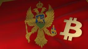 Bitcoin-Währungszeichen auf Flagge von Montenegro Lizenzfreie Stockbilder