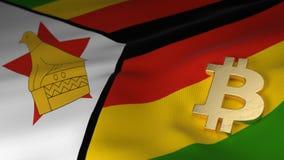 Bitcoin-Währungszeichen auf Flagge von Simbabwe Stockbilder