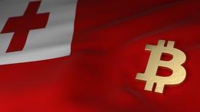 Bitcoin-Währungszeichen auf Flagge von Tonga Lizenzfreie Stockbilder