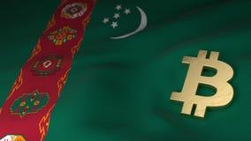 Bitcoin-Währungszeichen auf Flagge von Turkmenistan Stockfotos