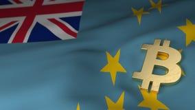 Bitcoin-Währungszeichen auf Flagge von Tuvalu Stockbilder