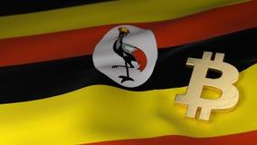 Bitcoin-Währungszeichen auf Flagge von Uganda Lizenzfreie Stockbilder