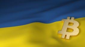 Bitcoin-Währungszeichen auf Flagge von Ukraine Stockbilder